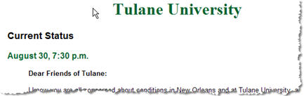 Tulane's Emergency Page
