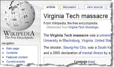 VTech Massacre Wikipedia Article