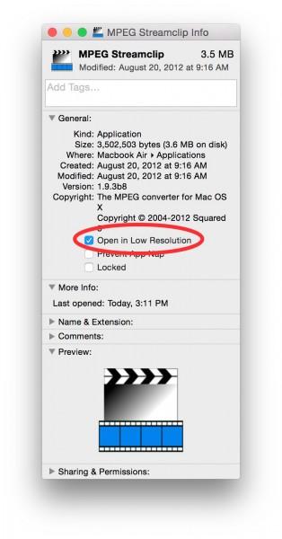 MPEG Streamclip Get Info