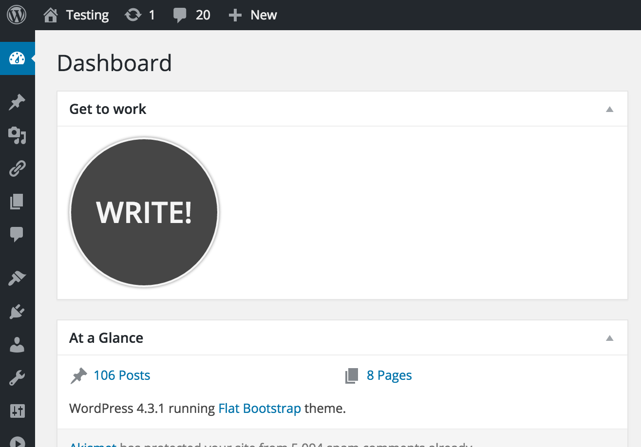 WordPress Dashboard screenshot. Write.